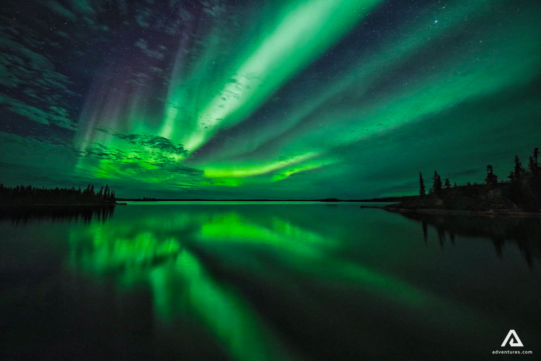 Northern lights lake reflection