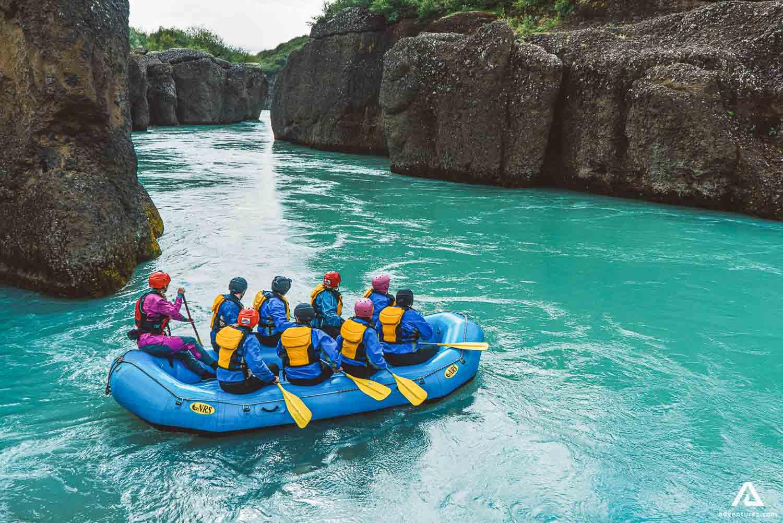 People Are Rafting On River Hvita Gullfoss