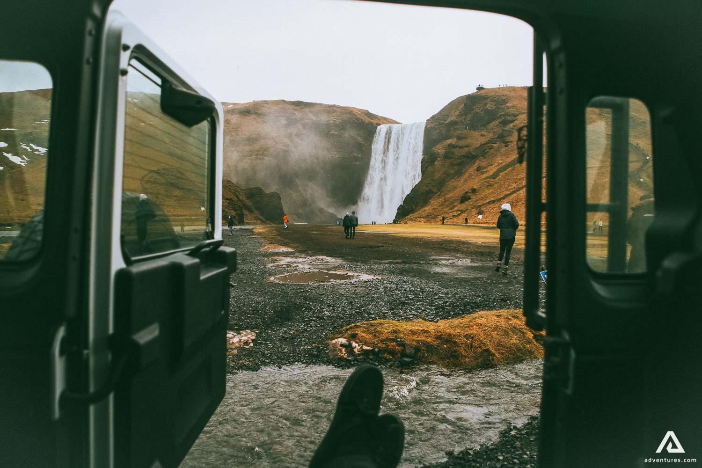 In-car view of Skogafoss Waterfall