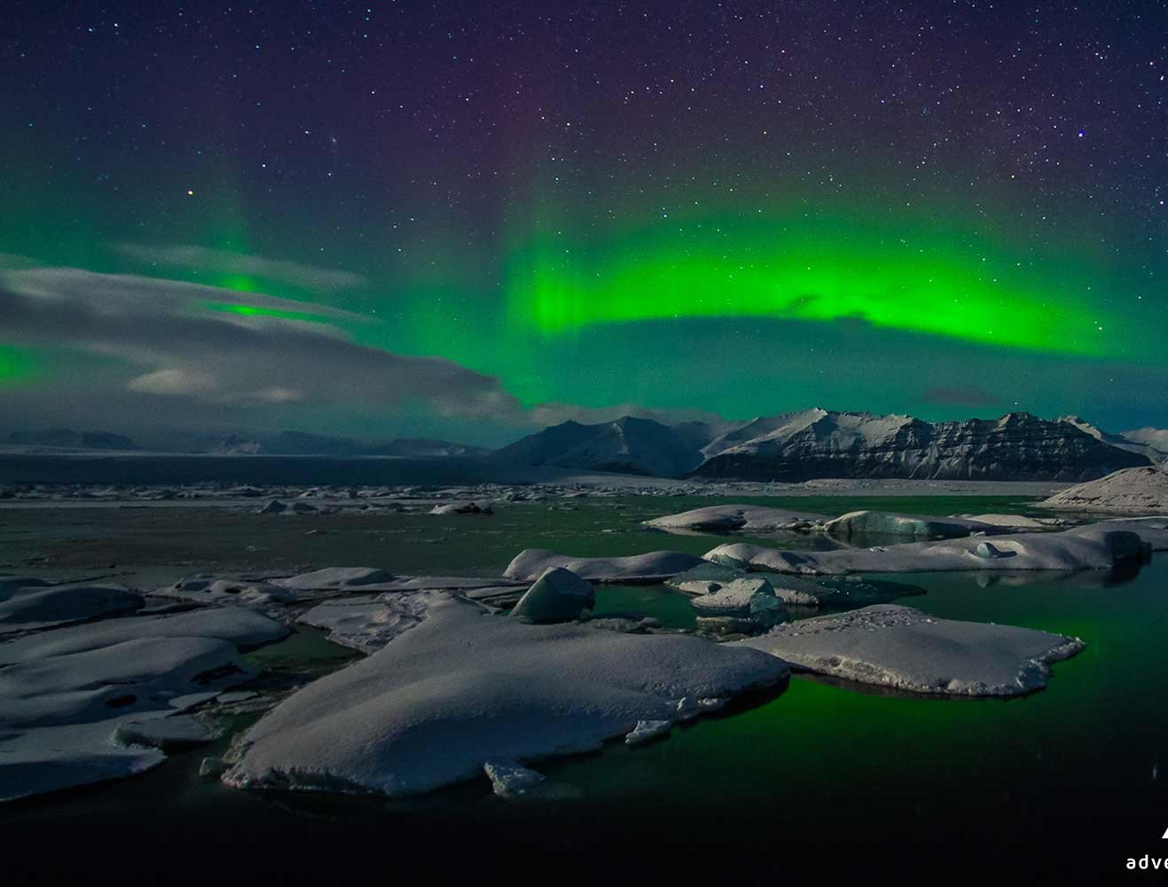 Famous northern lights and the ice