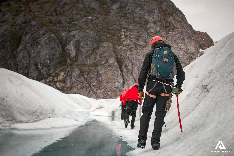 Climbing on a glacier