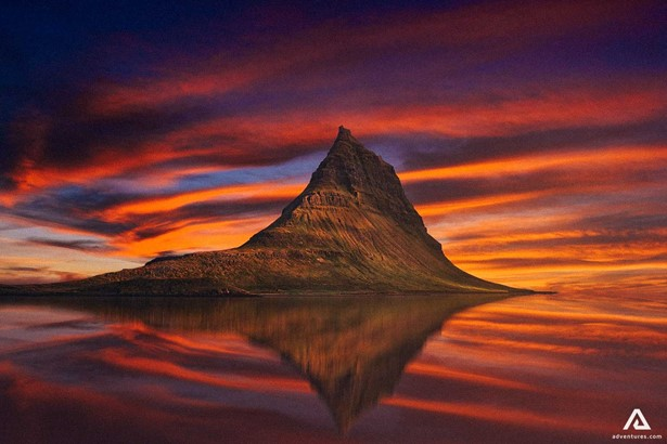 Colorful Summer Sunset With Kirkjufell
