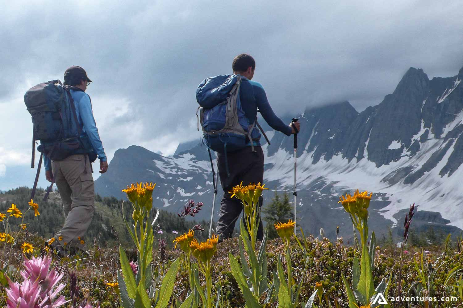 Men on a backpacking tour