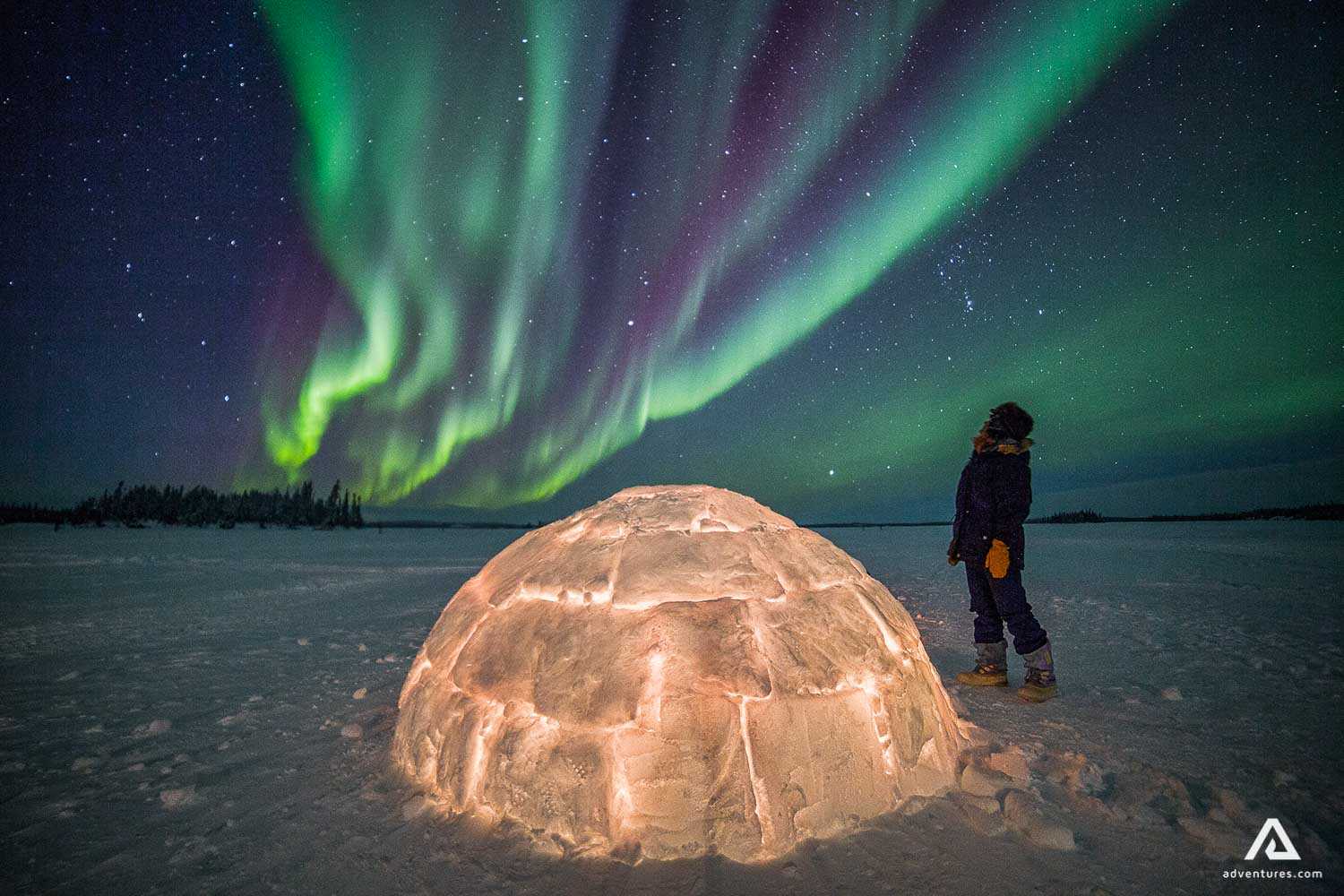 Northern lights view from iglu