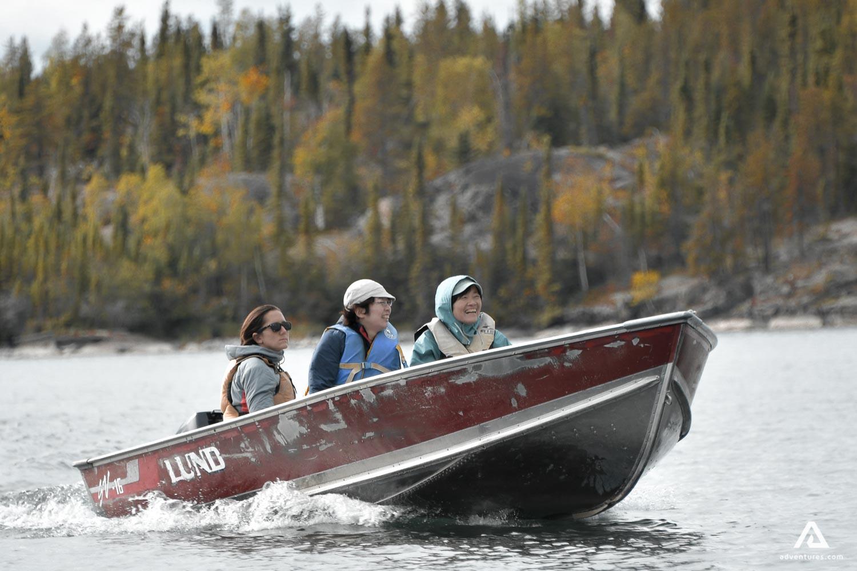 Women on a motor boat