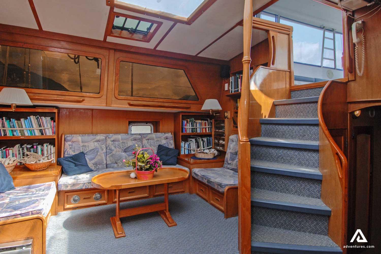 Inside sailing boat