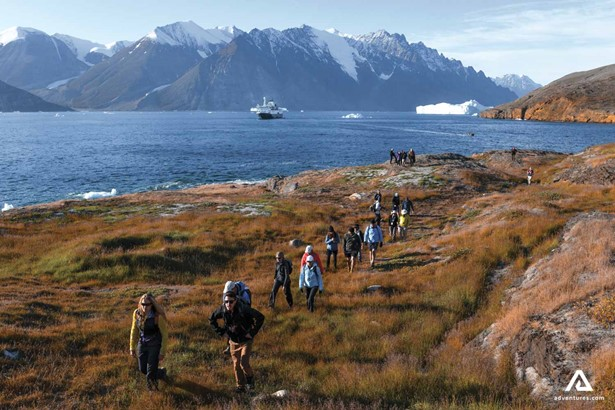 Hiking tourists in Greenland