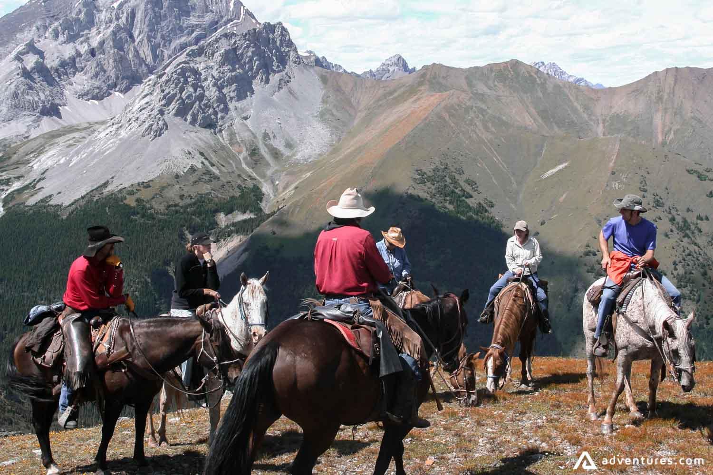 Tourists on a horseback tour