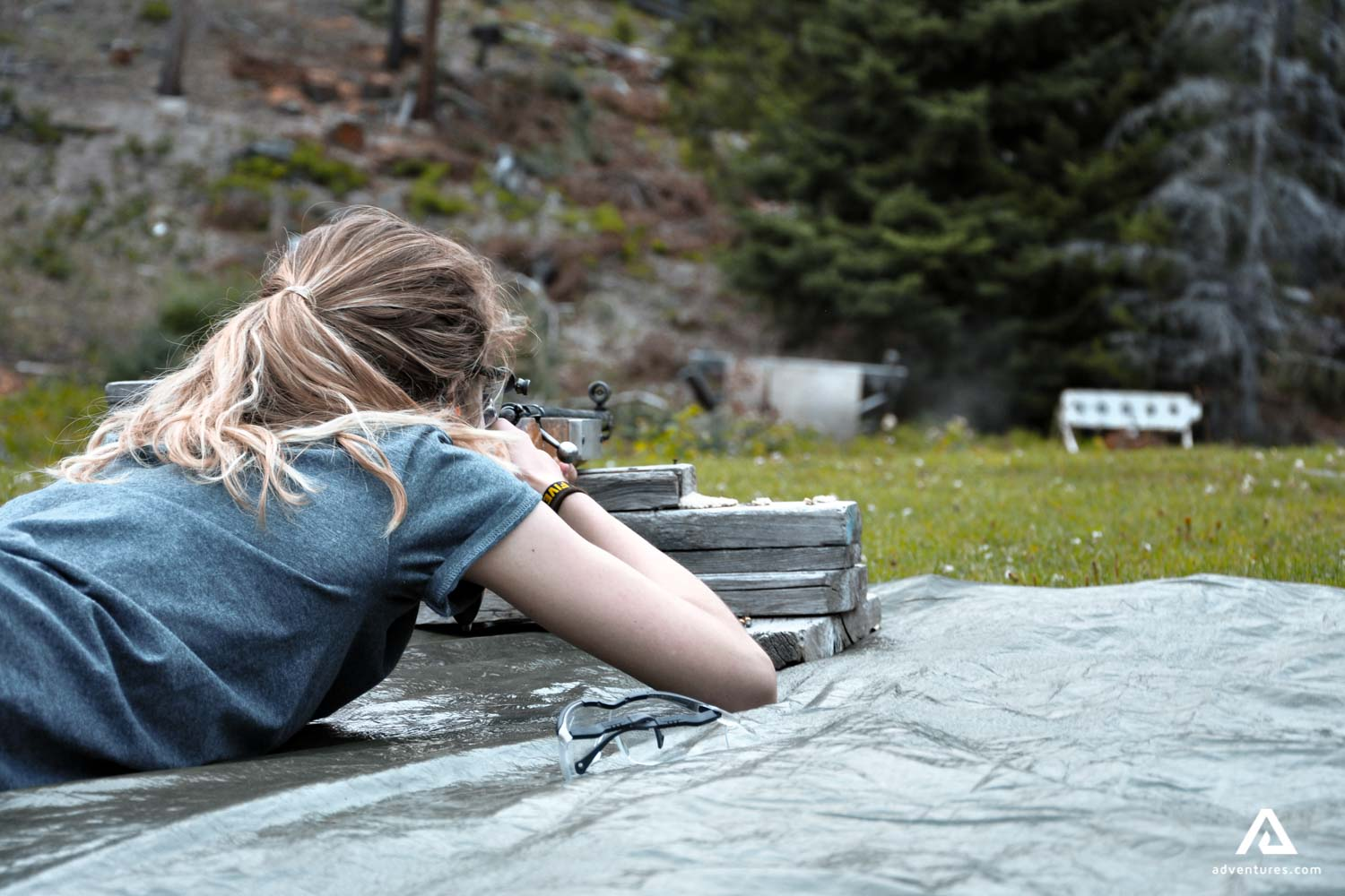Girl lying down shooting