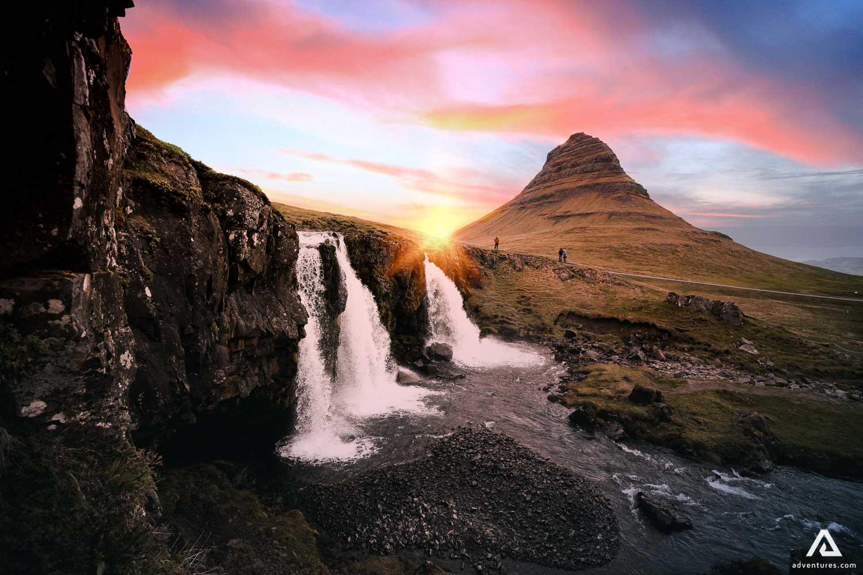 Kirkjufell Mountain and waterfall scenery