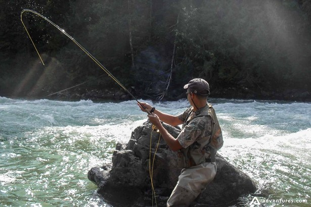 Fly fishing in blue ribbon river