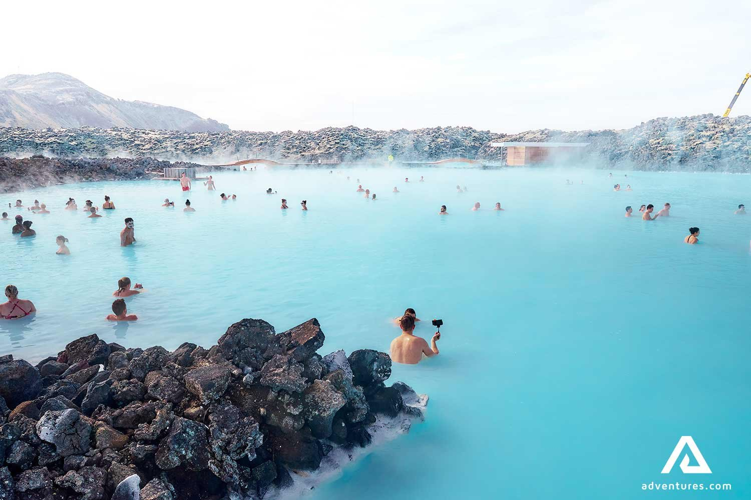 Sunset At Blue Lagoon Geothermal Bath during winter  In Iceland