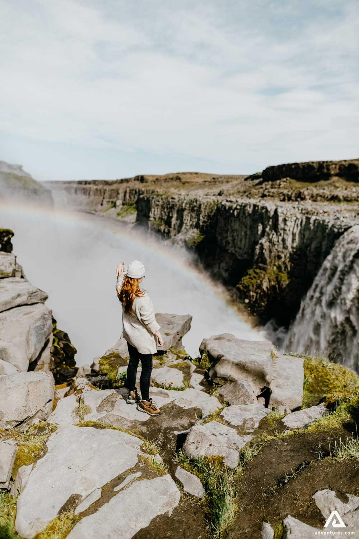 Girl near Dettifoss waterfall