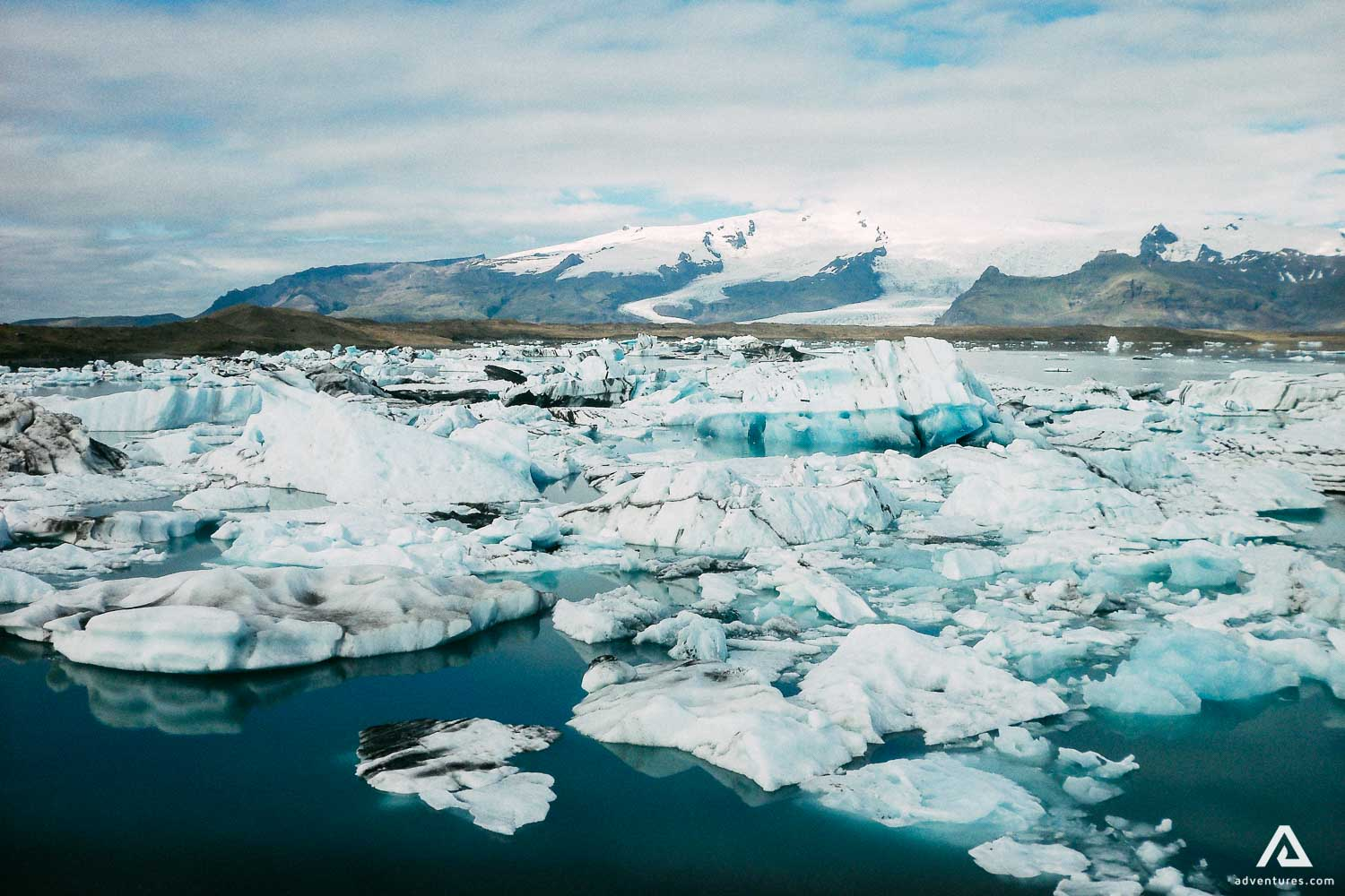 Jokulsarlon Glacier Lagoon with many small icebergs