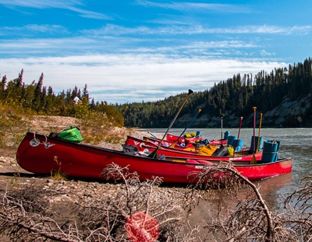 Canoeing on the Athabasca River in Alberta, Canada