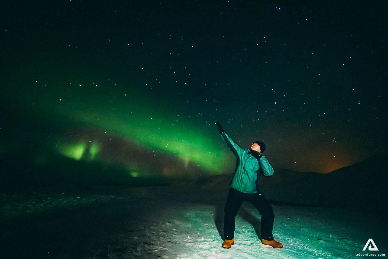 Usain Bolt celebration on Northern Lights