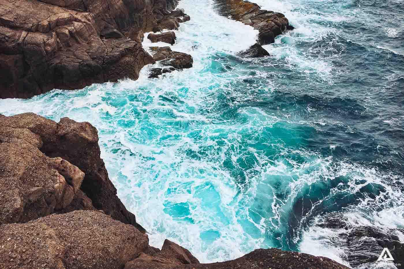 Waves crash into the coastline at Labrador Sea