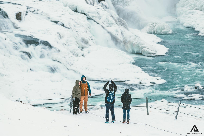 Taking picture of Gullfoss Waterfall