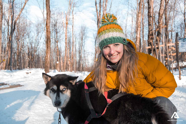 Woman with husky dog