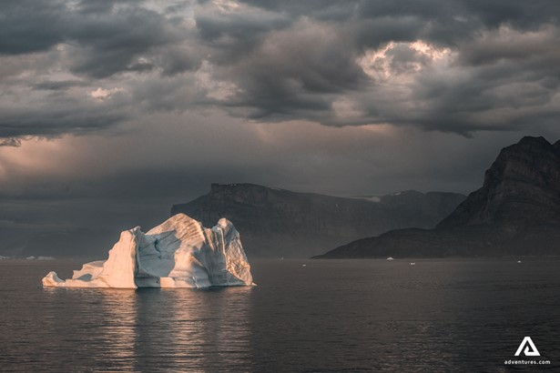 Iceberg in the middle of a sea in Greenland
