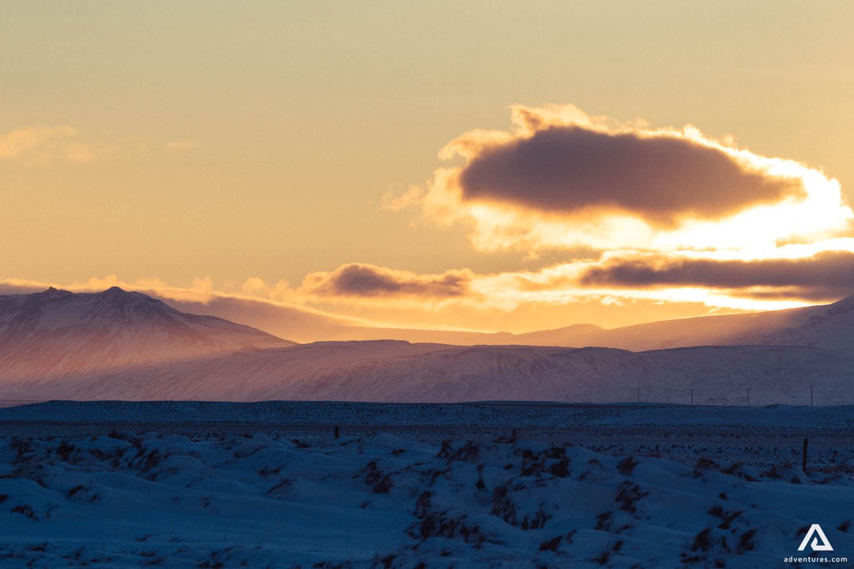 Hekla Volcano Iceland Sunrise Landscape Light