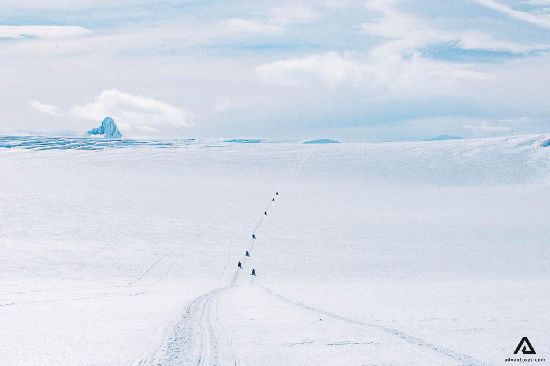 Snowy snowmobile road