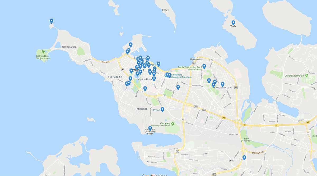 Reykjavik City Map with Highlight Attractions