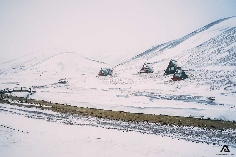 Snowy huts in Kerlingarfjoll