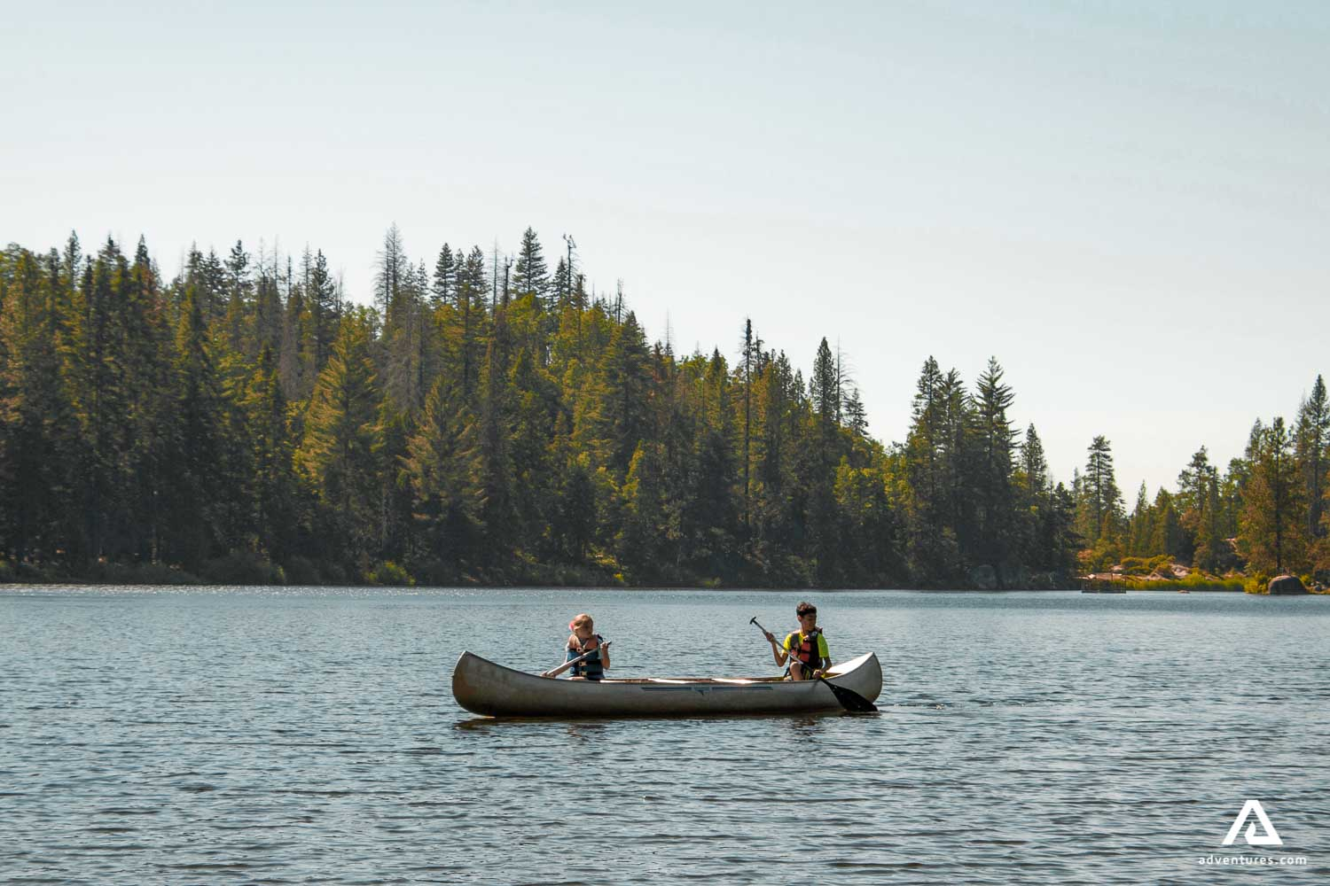 Children canoeing in Canada
