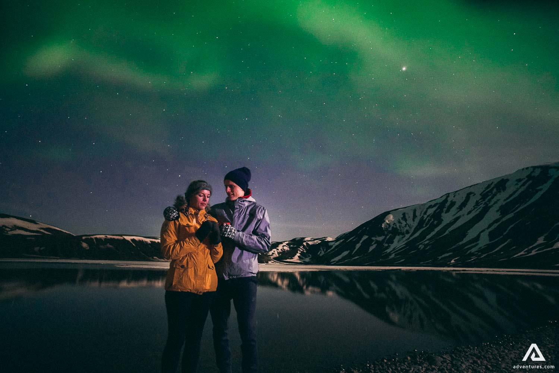Romantic couple Northern Lights