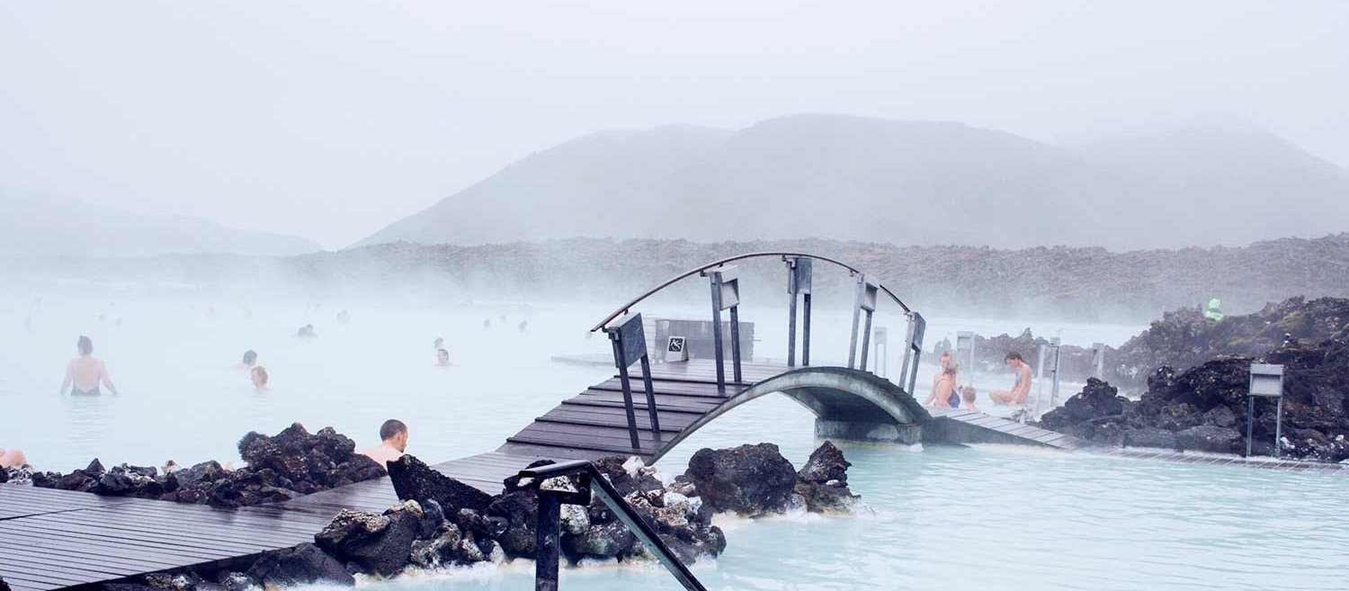 The Blue Lagoon geothermal spa not far from the airport
