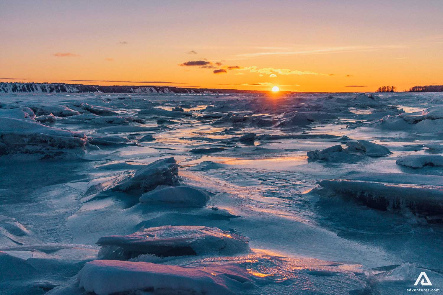 Frozen River at Sunset in Canada