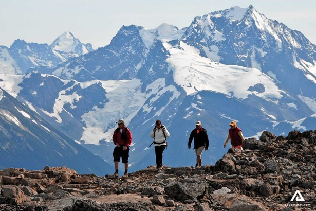 Hikers on the rocky mountains