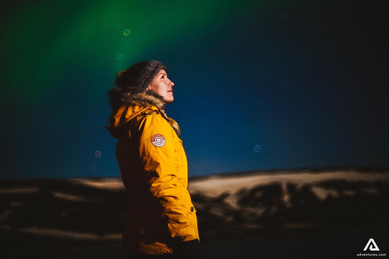 Woman watching Northern Lights
