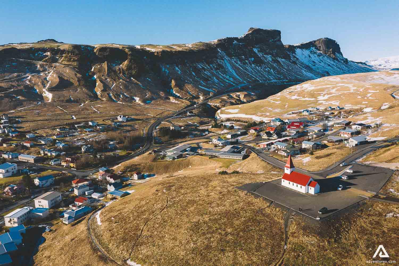Vik town aerial vew