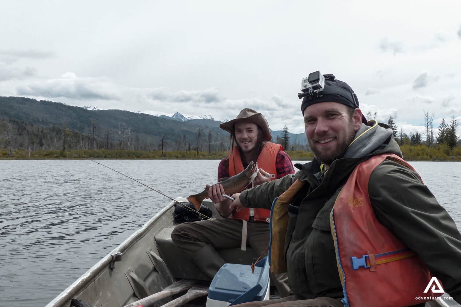 Men fishing in Canada from a boat