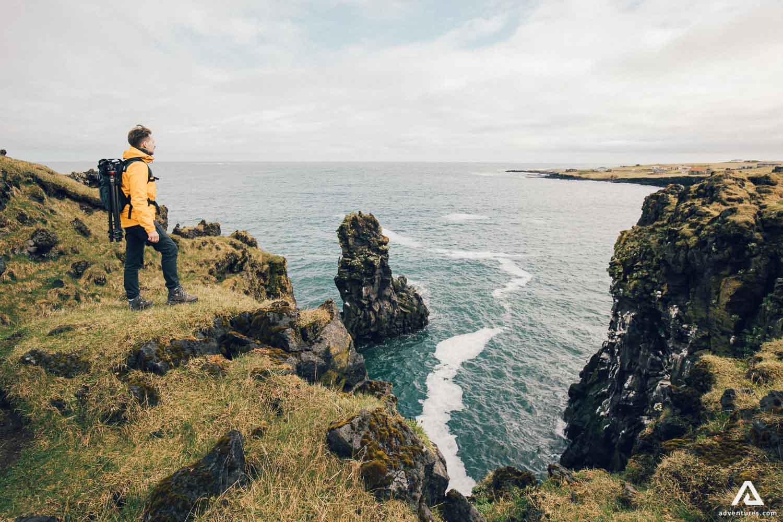 Hellnar Person Landscape Iceland Snaefellsnes Peninsula