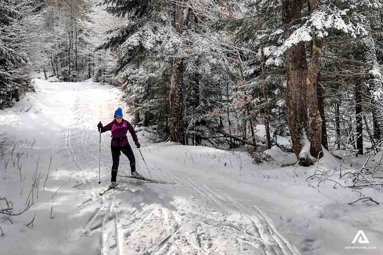 Woman Uphill Skiing