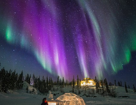 Aurora borealis viewing from this wilderness lodge