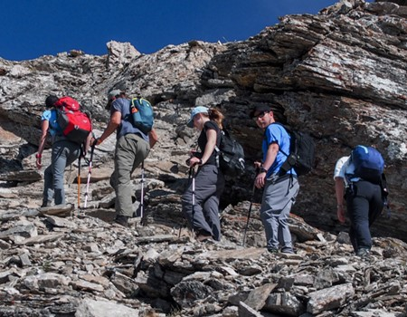 Backpacking expedition on Mount Assiniboine