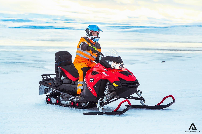 Woman on a Snowmobiling Tour