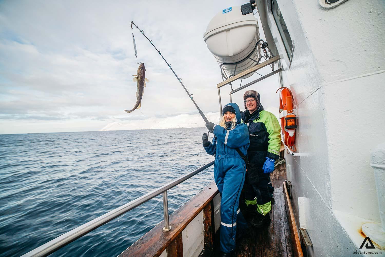 Woman catch fish