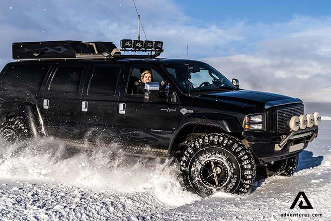 super jeep iceland on a glacier
