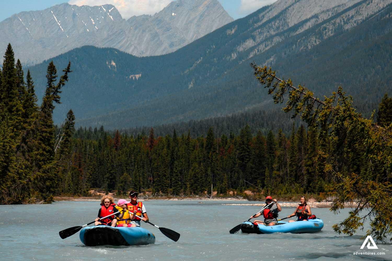 People kayaking on the Kootenay River