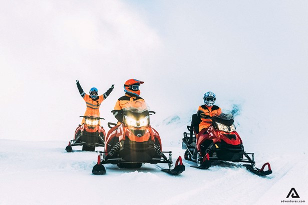 Happy snowmobilers