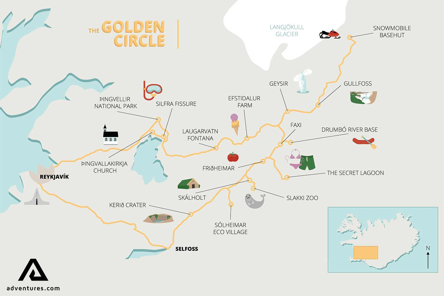 image regarding Printable Map of Iceland referred to as The Golden Circle Supreme Consultant Suggestions Extraordinary Iceland