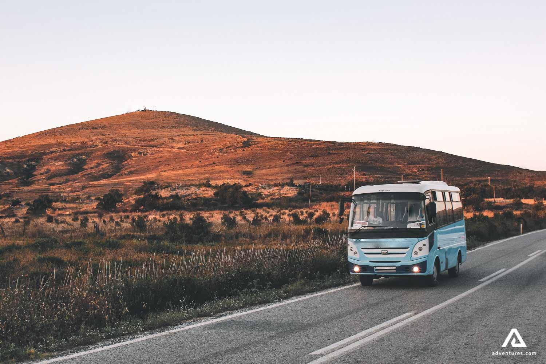 Van bus on the road in Canada