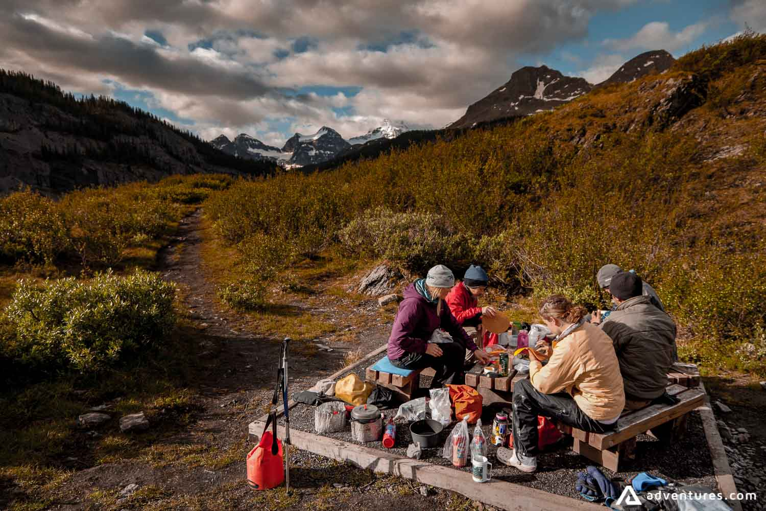 Picnic on backpacking expedition