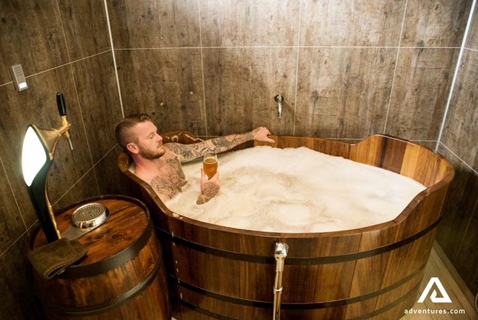 relaxing in the beer spa iceland