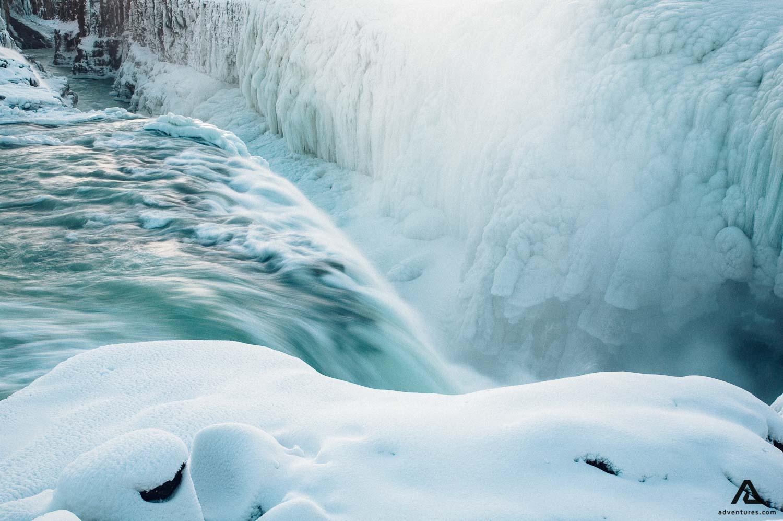 Frozen Gullfoss waterfall